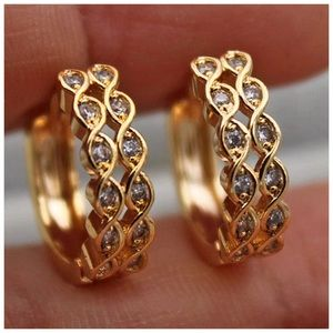 18K Gold Topaz 2-Layer Hollow Hoops!